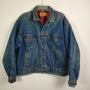 Levis Flannel Lined Denim Trucker Jacket USA XL